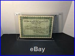 1921 Acme Packing Original Stock Certificate Green Bay Packers Original Sponsor