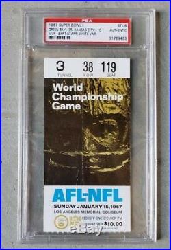 1967 Super Bowl I ticket stub Green Bay Packers Kansas City Chiefs PSA authentic