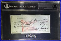 1968 Vince Lombardi Signed Autographed Personal Check BGS Packers HOF