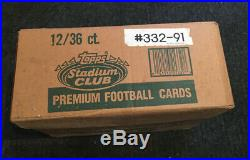 1991 Topps Stadium Club Football Factory 12 Box Case Top Flap Open Favre Rc MINT