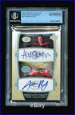 1/1 Aaron Rodgers & Alex Smith 2005 Exquisite Debut Dual Auto Rc Jersey #d 12/15