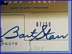 2001 Upper Deck Pros Prospects Piece of History Autographs Gold BART STARR 7/50