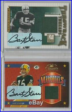 2002 Elite & Classics Bart Starr 2 Card Auto Lot