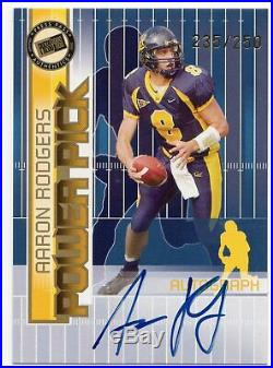 2005 Power Pick Aaron Rodgers Rc Auto #/250! Green Bay Packers Rookie Autograph