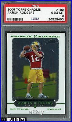 2005 Topps Chrome #190 Aaron Rodgers Green Bay Packers RC Rookie PSA 10 GEM MINT