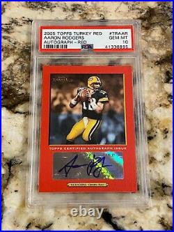 2005 Topps Turkey Red Aaron Rodgers Red Auto #traar Psa 10 Highest Grail Rookie