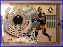 2008 SP Authentic BRETT FAVRE GAME USED PATCH AUTO #20/75 ON CARD PACKERS