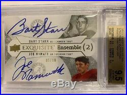 2012 Exquisite Bart Starr Joe Namath 5/30 Auto Autograph Alabama HOF BGS 9.5/10