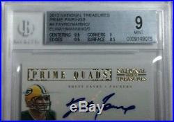 2012 National Treasures PrimePairing Favre Marino Elway Manning AUTO 4/5 1/1 BGS