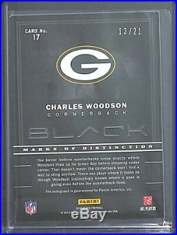 2012 Panini Black Autograph #17 Charles Woodson No 13 of 21