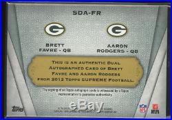 2012 Topps Supreme Dual Autographs #SDAFR Brett Favre Aaron Rodgers Auto /25 Wow