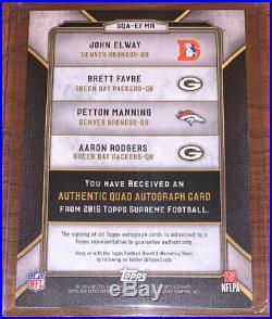 2015 John Elway Brett Favre Peyton Manning Aaron Rodgers Supreme Quad Auto /5