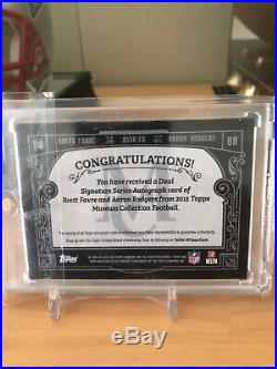 2015 Topps Museum Brett Favre Aaron Rodgers Gold Ink Dual Auto 1/5 1/1 Packers