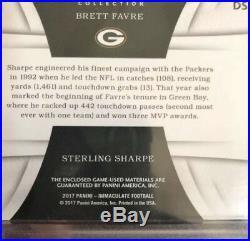 2017 Panini Immaculate Brett Favre Sterling Sharpe Dual NFL SHIELDS 1/1 Logo