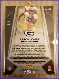2017 Panini Prizm Aaron Jones GOLD VINYL Auto RC 5/5 Green Bay Packers RARE