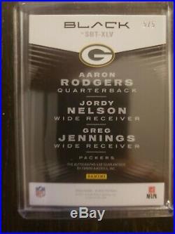 2020 Panini Black Super Bowl Teammates Packers Aaron Rodgers Triple Auto 5/5