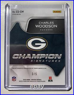 2020 Spectra Charles Woodson SB Champion Neon Blue Prizm #/5 Auto Packers OnCard