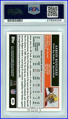 AARON RODGERS 2005 Topps Football Rookie Card RC #431 PSA 10 Gem Mint GB Packers