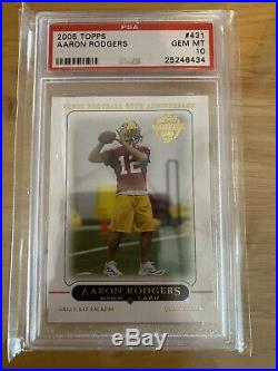 AARON RODGERS 2005 Topps PSA 10 GEM MINT Rookie Card RC #431 Packers