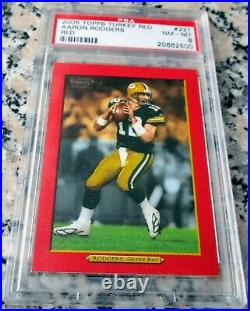 AARON RODGERS 2005 Topps Turkey RED RARE SP Rookie Card RC PSA 8 MVP $$$ HOT $$$