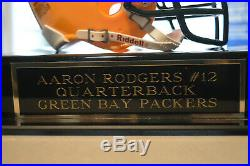 AARON RODGERS Autograph-Signed MINI HELMET in DISPLAY CASE with nameplate COA