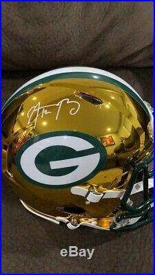 AARON RODGERS Autographed Green Bay Packers Authentic Chrome Full Size Helmet