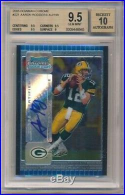 Aaron Rodgers 2005 Bowman Chrome Rookie Autograph Sp Auto #/199 Bgs 9.5 Gem 10
