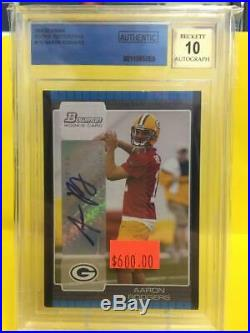 Aaron Rodgers 2005 Bowman Rookie Auto #112, BGS 10 Auto Packers