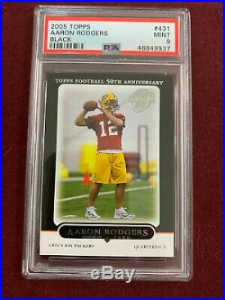 Aaron Rodgers 2005 Topps Black Rookie Card RC PSA 9 Mint Packers Rare