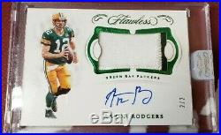 Aaron Rodgers 2018 Flawless Emerald Auto Autograph Jersey Patch Packers #2/2 1/1