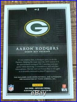 Aaron Rodgers Auto 2016 Impeccable Jersey Autograph 1/5 ONLY 5 EXIST Packers QB