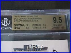 Aaron Rodgers Bgs 9.5 10 2016 Flawless Auto Sick Patch! /5 Ultra Rare! Game Worn