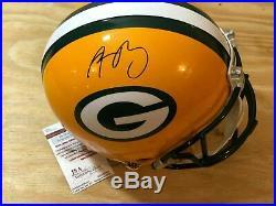 Aaron Rodgers Signed Autographed Full Size Helmet Jsa Coa
