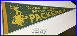 Amazing Vintage 1960's World Champions Green Bay Packers Football Pennant