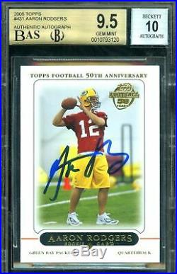 BAS BGS 9.5 Pristine 10 Rc Aaron Rodgers Auto 2005 Topps Rookie Signed Autograph