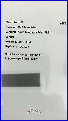 Baker Mayfield 2018 Panini Prizm Auto Pink Prizm Refractor Autograph SSP Browns
