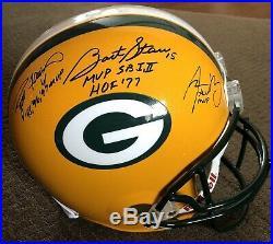 Bart Starr Brett Favre Aaron Rodgers Signed Full Size Helmet Packers JSA LETTER
