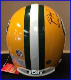Bart Starr Brett Favre Packers Dual Autographed Riddell Full Size Helmet WithCOA