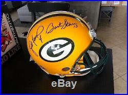 Bart starr brett favre green bay packers autographed football helmet