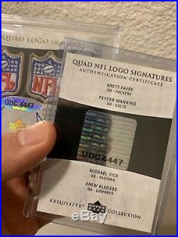 Brett Farve Peyton Manning Exquisite 1/1 NFL Shield Game Worn Patch Auto BGS 10