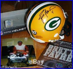 Brett Favre 4 Autographed Signed Green Bay Packers Reggie White 92 Helmet Coa