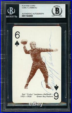 Curly Lambeau Autographed 1963 Stancraft Playing Card Packers Beckett 11542850