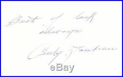 Curly Lambeau Autographed 7.5x10.5 Letterhead Packers Best Of Luck JSA #Z93883