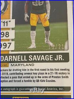 Darnell Savage Jr 2019 Panini Contenders Purple Pulsar /21 RC Auto #171 Packers