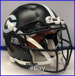 Green Bay Packers Custom Full Size Schutt Vengeance Football Helmet Matte Black