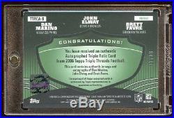 John Elway / Dan Marino / Brett Favre 2006 Topps Triple Auto Jersey 7/18 Hof 1/1