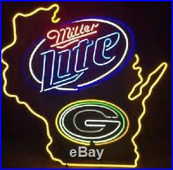 New Miller Lite Beer Green Bay Packers Wisconsin State Neon Light Sign 32x24