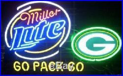 New Miller Lite Green Bay Packers Go Pack Beer Bar Pub Neon Light Sign 24x20