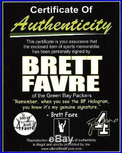 Packers Brett Favre'95'96'97 MVP Signed Mini Helmet Favre COA & Holo