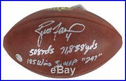 Packers Brett Favre Career Stat Signed The Duke Nfl Football Favre COA & Holo